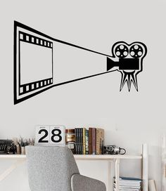 Home Decorations For Halloween Refferal: 6170830600 Room Stickers, Vinyl Wall Stickers, Kids Church Rooms, Hollywood Birthday Parties, Camera Drawing, Movie Camera, Cinema Room, Cinema Movies, Custom Wall