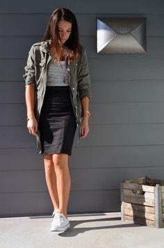 Military jacket & Pencil skirt