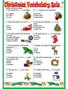 Christmas Vocabulary Quiz worksheet - Free ESL printable worksheets made by teachers Christmas Quiz, English Christmas, Christmas Games, Christmas Activities, Xmas, English Games, English Activities, Teaching English, Learn English