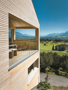 This is how we do it in Vorarlberg - Light Wood and the perfect view. Temporary Architecture, Wood Architecture, Architecture Magazines, Beautiful Architecture, House With Porch, House In The Woods, Grand Designs Houses, Country Modern Home, Wooden Facade