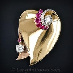 Retro Diamond and Ruby Brooch - 50-3-4081 - Lang Antiques