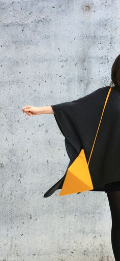 Triangle Bag | by IF irinaflorea | geometric | minimalist | leather | yellow