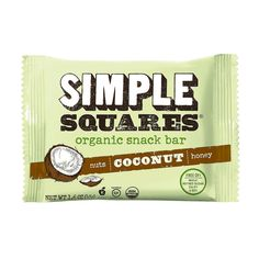 Simple Squares Organic Snack Bar - Nuts and Honey - Coconut - 1.6 oz Bars - Case of 12