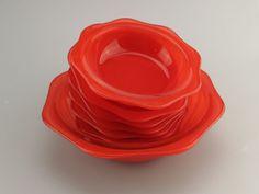 Vintage Pyrex Colourware bowls set 7 1950s 1960s Red