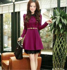 Korean Fashion Womens Breasted Slim Elegant Lace Long Sleeve Dress