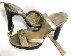 Michael Michael Kors Ankle Strap Metallic Heel Sandals Size 8 Leather Shoes #MichaelKors #Scrappydemiplatform #Casual