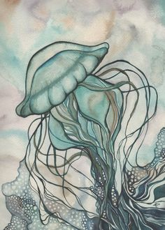 Green JELLYFISH 5 x 7 print of detailed by DeepColouredWater