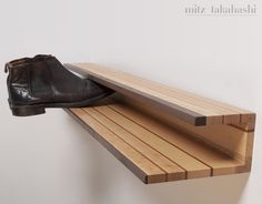 Shoe rack by Mitz Takahashi - http://www.differentdesign.it/2013/04/09/shoe-rack-by-mitz-takahashi/