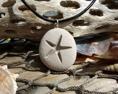 Starfish -Talisman of Travel over Water - Engraved Beach Stone Pendant - Star of…