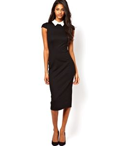 Day Chic -   ASOS Pencil Dress With Collar & Short Sleeve