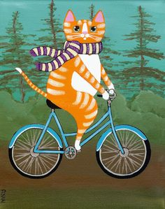 Robust Ginger Cat on a Bicycle Original Folk Art by KilkennycatArt, $60.00