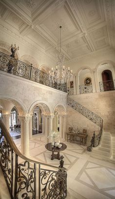 A double staircase is a way to add a touch luxury to your foyer. Grand Foyer, Grand Staircase, Double Staircase, Grand Entrance, House Entrance, White Staircase, Staircase Handrail, Entrance Halls, Bannister