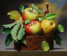Apple Still life Art Painting Apple Painting, Fruit Painting, Still Life Fruit, Realistic Paintings, Painting Still Life, Fruit Art, Still Life Photography, Pictures To Paint, Fruits And Veggies
