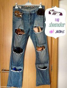 ES = Reuse your boy& old jeans or yours and make a shoemaker is very easy. EN = Reuse your old jeans of yours and you guy or a shoemaker is very . Diy Jeans, Creative Shoes, Creative Crafts, Diy Crafts, Artisanats Denim, Jean Diy, Diy Shoe Storage, Jean Crafts, Mode Jeans