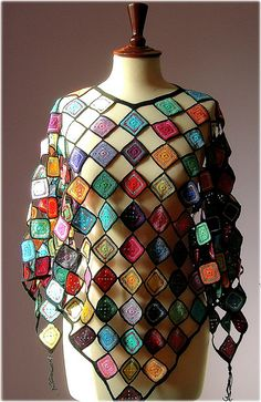 Crochet Granny Square Shawl By Lidia Luz - Inspiration - No Pattern - (flickr)