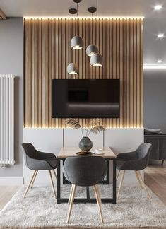 Compact and super harmonic dining room with a combination that never goes wrong, gray, white and wood. Non-authorial project. Modern Home Interior Design, Home Room Design, Luxury Homes Interior, Dining Room Design, House Design, Home Living Room, Interior Design Living Room, Living Room Decor, Deco Studio