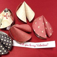 Valentines Paper Fortune Cookies