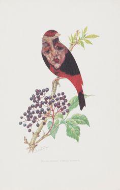 Kolář Jiří (1914–2002) | Ortolan Bunting, from the Ornithology of Modern Art cycle | Aukce obrazů, starožitností | Aukční dům Sýpka Modern Art, Auction, Painting, Paper Pieced Patterns, Authors, Sketch, Painting Art, Contemporary Art, Paint