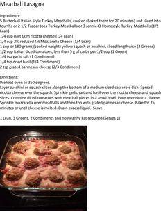 Lean & Green Meatball Lasagna #Optavia #LeanandGreen #EmpowerYourHealth Healthy Life, Healthy Food, Healthy Recipes, Meatball Lasagna, Lasagna Ingredients, Lean And Green Meals, Lean Meals, Turkey Meatballs, Greens Recipe