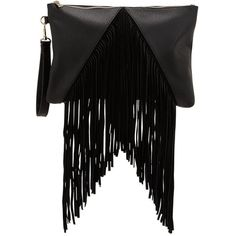 Fringed Wristlet Clutch ($36) ❤ liked on Polyvore featuring bags, handbags, clutches, black purse, fringe clutches, black clutches, black handbags and black fringe handbag