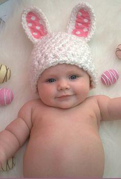 Newborn Baby Boy Photo Prop Bunny Ears Hat by MitziKnitz on Etsy