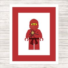 Classic Red Ninja Print  Child or Adult  Wall by paper4download