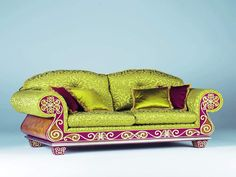 Fabulous Vintage Trendy Sofa with Floral Pattern Themed Green Pink