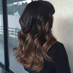 Subtle, Light Brown Balayage Highlights on Dark Hair