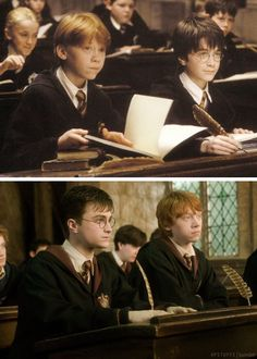 Harry Potter and Ron Weasley. This makes me a wee bit sad Harry Potter World, Harry Potter Universe, Images Harry Potter, Mundo Harry Potter, Harry Potter Gif, Harry Potter Wallpaper, Ron Weasley, Hermione Granger, Hogwarts