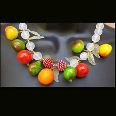 Sweet Summer Fruit Necklace Cha Cha Vintage Costume Jewelry