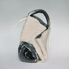 White felt bag Black Grey flower Designer handbags  Hobo bag Felting wool Fiber Art Boho Gift for her