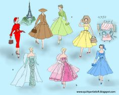 printable e-book    A selection of beautiful 1950 style vintage 12 Barbie doll dresses, jackets, gloves, hats, and purse patterns. Over 20
