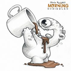 Morning Scribbles 849 is part of pencil-drawings - Official Post from Chris Ryniak Coffee! Cute Monsters Drawings, Cool Art Drawings, Art Drawings Sketches, Cartoon Drawings, Animal Drawings, Cartoon Art, Pencil Drawings, Cartoon Monsters, Doodle Monster