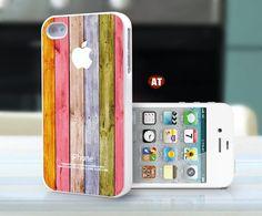 iphone 4 case iphone case iphone 4s case iphone 4 cover Iphone Logo colorized wood texture image unique design printing. $13.99, via Etsy.