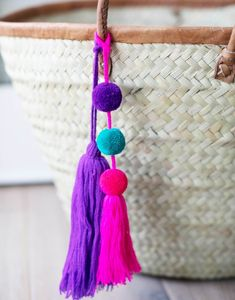 Add this pink, purple, and teal pom pom tassel to your favorite bag. Each purchase supports artisans working with Macvilho in Mexico. Crafts For Kids, Arts And Crafts, Diy Crafts, Crochet Beard, Boyfriend Crafts, Pom Pom Crafts, Macrame Design, Summer Accessories, Valentine's Day Diy