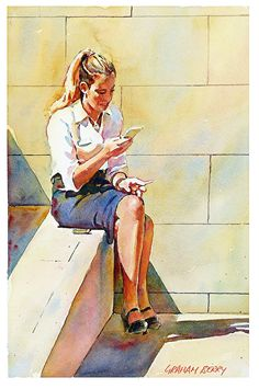 "Morning break ( a study ). by Graham Berry Watercolor ~ 12"" x 8"""