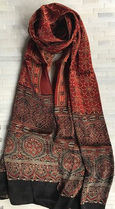 Red and Black Satin Ajrak stole