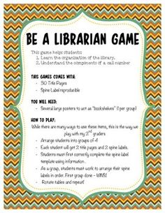 """Be a Librarian"" game requires students to make a spine label using the information provided on a title page. Working as a group, students must take their spine labels and correctly organize the books on the shelf in correct ABC order. This activity comes Library Games, Library Book Displays, Library Science, Reading Library, Library Activities, Library Books, Library Ideas, School Library Lessons, Library Lesson Plans"