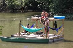 #OurLifeOutside's AWESOME Hammock Raft at @Canoegrass Festival!