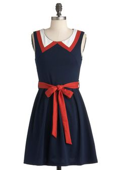 Red, White, and Cute Dress - Short, Blue, Orange, White, Solid, Pleats, A-line, Sleeveless, Belted, Vintage Inspired, Cotton, Summer