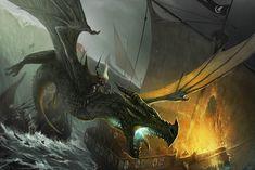 Visenya Targaryen montada no seu dragão Vhagar, queimando a frota Arryn.