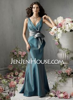 Bridesmaid Dresses - $113.99 - Mermaid V-neck Floor-Length Taffeta Bridesmaid Dresses With Ruffle  Sash (007004108) http://jenjenhouse.com/Mermaid-V-neck-Floor-length-Taffeta-Bridesmaid-Dresses-With-Ruffle--Sash-007004108-g4108
