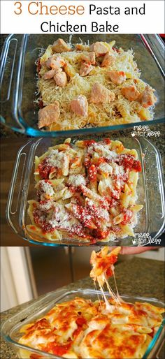 Baked Pasta with 3 cheese and chicken...Recipe step by step!!