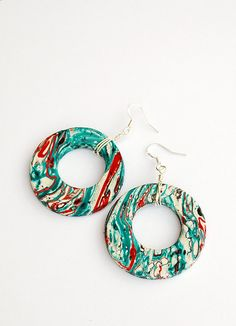 Large red and turquoise boho earrings by JewelryBySiretR