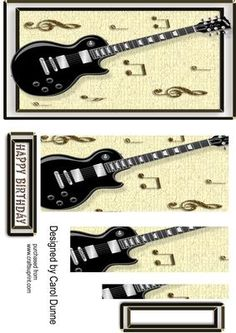 - A black guitar on a cream textured background decorated with gold musical notes. An easy to make card, just layer up with foa. Printable Crafts, Printable Paper, Arts And Crafts Projects, Diy And Crafts, 3d Sheets, Greeting Cards, Men's Cards, Cardboard Crafts, Decoupage Paper