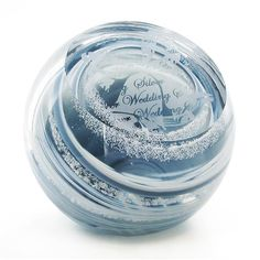 Caithness 25th Silver Wedding Anniversary Celebrations Glass Paperweight - Beautiful and unique. Perfect keepsake for the special day.