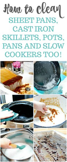 Easy tips for cleaning burned cookware. Clean everything from sheet pans, baking dishes, pots, pans, cast iron skillets, and even slow cookers! via @Mom4Real