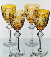 4 Josair Amber Yellow Gold Cut to Clear Crystal Wine Water Goblets Glasses