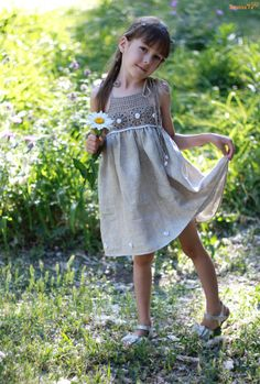 organic flax linen dress /crochet /sew organic by TheBabemuse