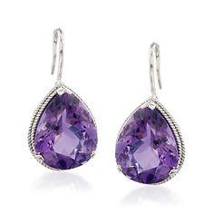 13.00 ct. t.w. Amethyst Drop Earrings in Sterling Silver
